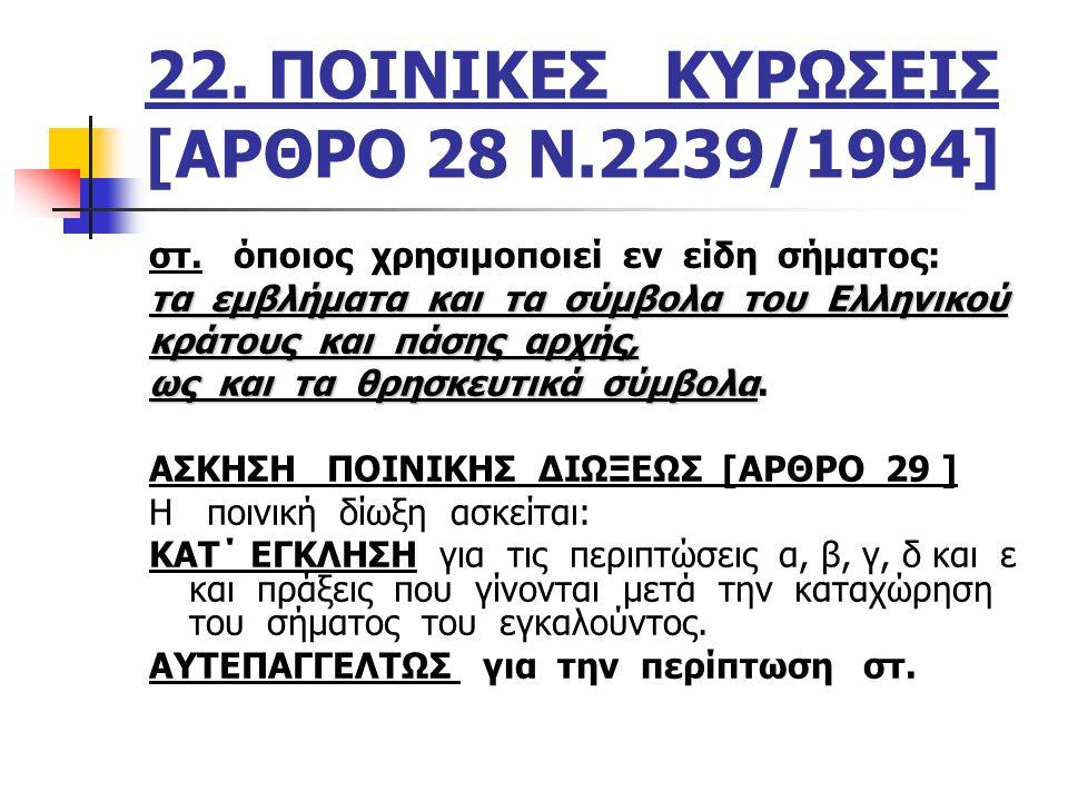 22. ΠΟΙΝΙΚΕΣ ΚΥΡΩΣΕΙΣ [ΑΡΘΡΟ 28 Ν.2239/1994]